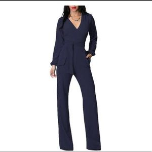 Women's Long Sleeve V Neck Solid Trousers Jumpsuit